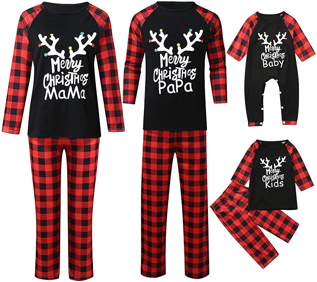 Family Matching Christmas Pajamas Pants Sets Mom//Dad//Children//Baby Xmas Sleepwear Nightwear Outfits Tops and Long Pants Suit