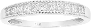 1/2 CT Milgrain Princess Diamond Wedding Band in 14K White Gold
