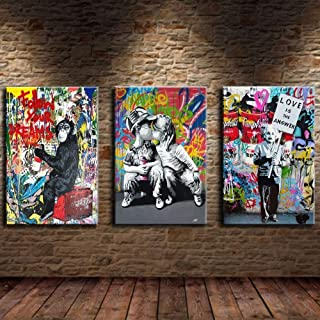 Artwcm Monkey,Love Couple Kissing,Graffiti 3PCS Oil Paintings Modern Canvas Prints Artwork Printed on Canvas Wall Art for Home Office Decorations-57 (Framed)