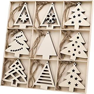 N&T NIETING 27pcs Wooden Christmas Tree Shaped Ornaments, Unfinished Wooden Cutouts Embellishments Hanging Ornament for Christmas Decorations, Tree Decor, Kids Crafts DIY