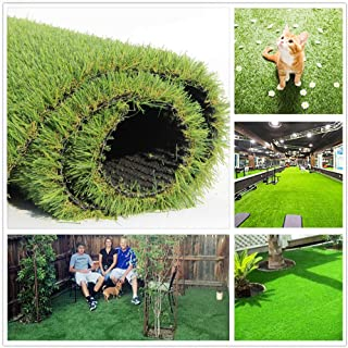 JSHANMEI Artificial Grass Turf Lawn Fake Grass Mat Synthetic Turf Rug Indoor Outdoor Carpet Garden Lawn Landscape Rubber Backed with Drainage Holes, 5ft x 3.3ft