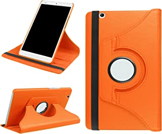 Asng NTT docomo dtab d-03G / dtab Compact d-01J / Huawei MediaPad M3 8.4 タブレット専用 ケース 360度回転仕様カバー 薄型 軽量型 スタンド機能 高品質PUレザーケース (オレンジ)