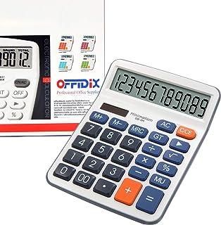 OFFIDIX Calculators, Standard Function Desktop Calculator, Desk Large Key Calculator, Dual Power Electronic Calculator Portable 12 Digit Large Display Calculator (Battery Included)