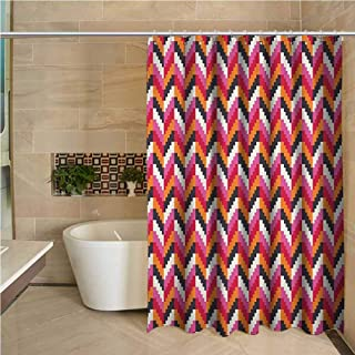Geometric Odorless Waterproof Shower Curtain Pixel Art Style Stripes Three Dimensional Pattern Colorful Herringbone Design Large Home Decoration W70 x L78 Inch Multicolor