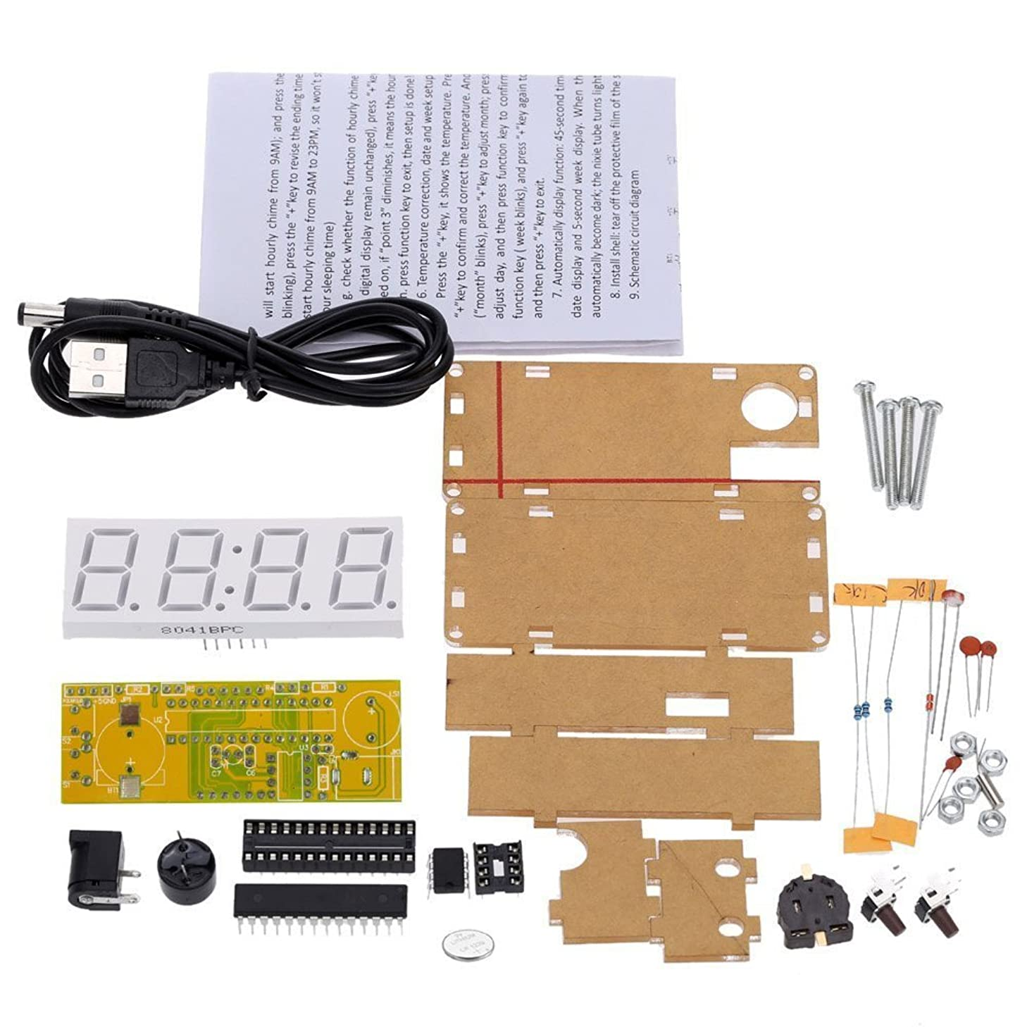 WINGONEER 4-Digit DIY LED Electronic Clock Kit Microcontroller 0.8inch Digital Tube Clock with Thermometer Hourly Chime Function DIY Kit Module - Green