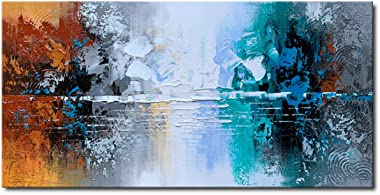 Hand Painted Oil Painting on Canvas Lake Landscape Wall Art Modern Abstract Home Decor