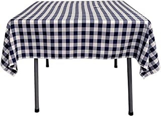 YRYIE 70 x 70 Inch Square Solid Polyester Table Cover Gingham Checkered Tablecloth for Square Table for Buffet Table,Banquet, Baby Shower,Wedding Dinner,Navy Blue & White