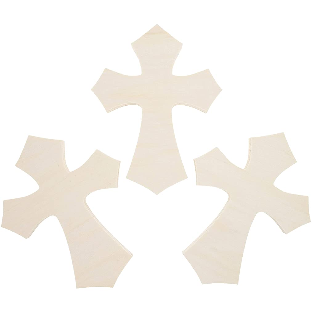 3pack Cross Unfinished Wood Craft Cutout 770.7inch