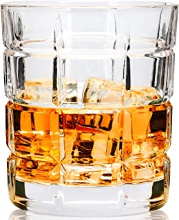 LANFULA 4 - Piece Rocks Style Whiskey Glass Tumbler, Lead Free Crystal, Large Old Fashioned Cocktail Glass For Scotch Drinking or Bourbon Tasting, Ideal Gift for Wedding or Christmas