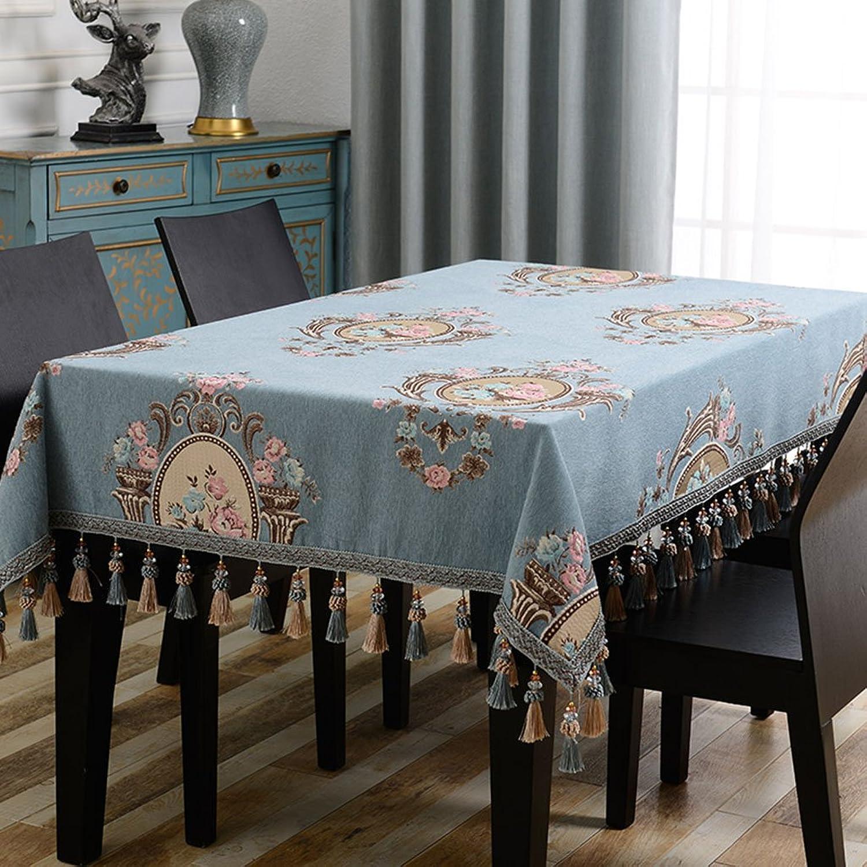 William 337 Rechteckige Tischdecken europäischen Retro Blau Jacquard (größe   140  240cm) B07CWSJ46J Verkaufspreis    | Qualität zuerst