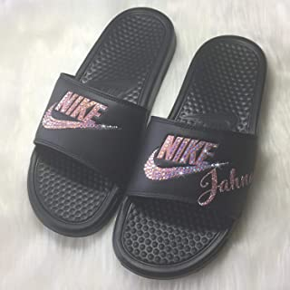 5369b687c2e Bling NIKE all Black SLIDES with Pink Crystals ~ NIKE Benassi JDI Slides  Custom Bedazzled Slip