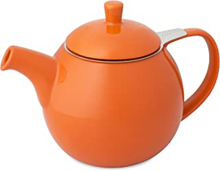 FORLIFE Curve Teapot with Infuser, 24-Ounce, Carrot