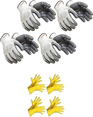 Seebuy Non Cutrastitant White Yellow Reusable Safety Gloves Dish Kitchen Platform Washing Home Bathroom Cleaning Garden Or Ot