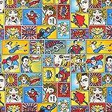 Fabulous Fabrics Tela Otoman Decorativa Héroes de cómic – Blanco Lana — Mercancia al Metro a Partir de 0,5m — para Coser de Almohadas, Manteles y Sillas