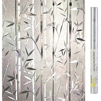 Homein Window Film Privacy 3D Crystal Clear Bamboo Decorative Stained Glass Window Film Removable Self Adhesive Glass Sticker Static Cling Vinyl Window Paper for Kitchen Office 17.5x78.7inches