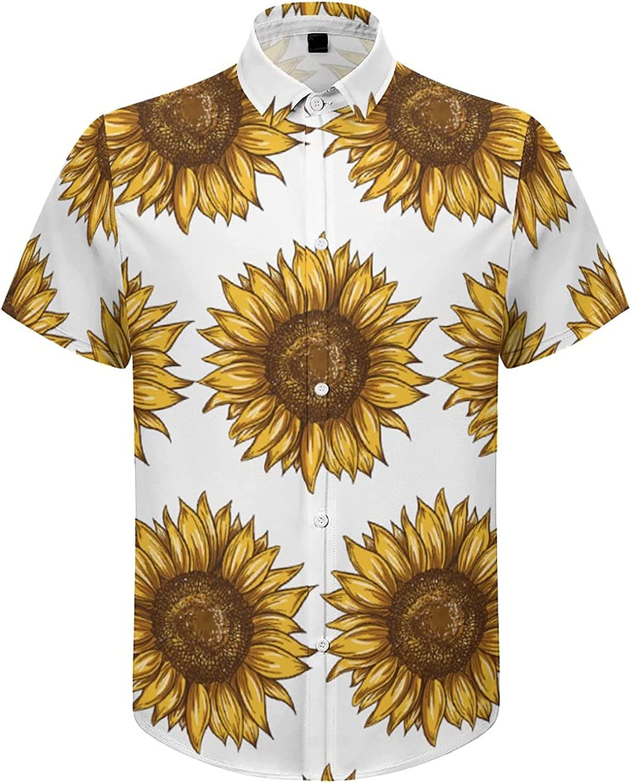 Hawaiian Shirts for Men Rustic Sunflower Printed Beach Shirt Hawaiian Shirts