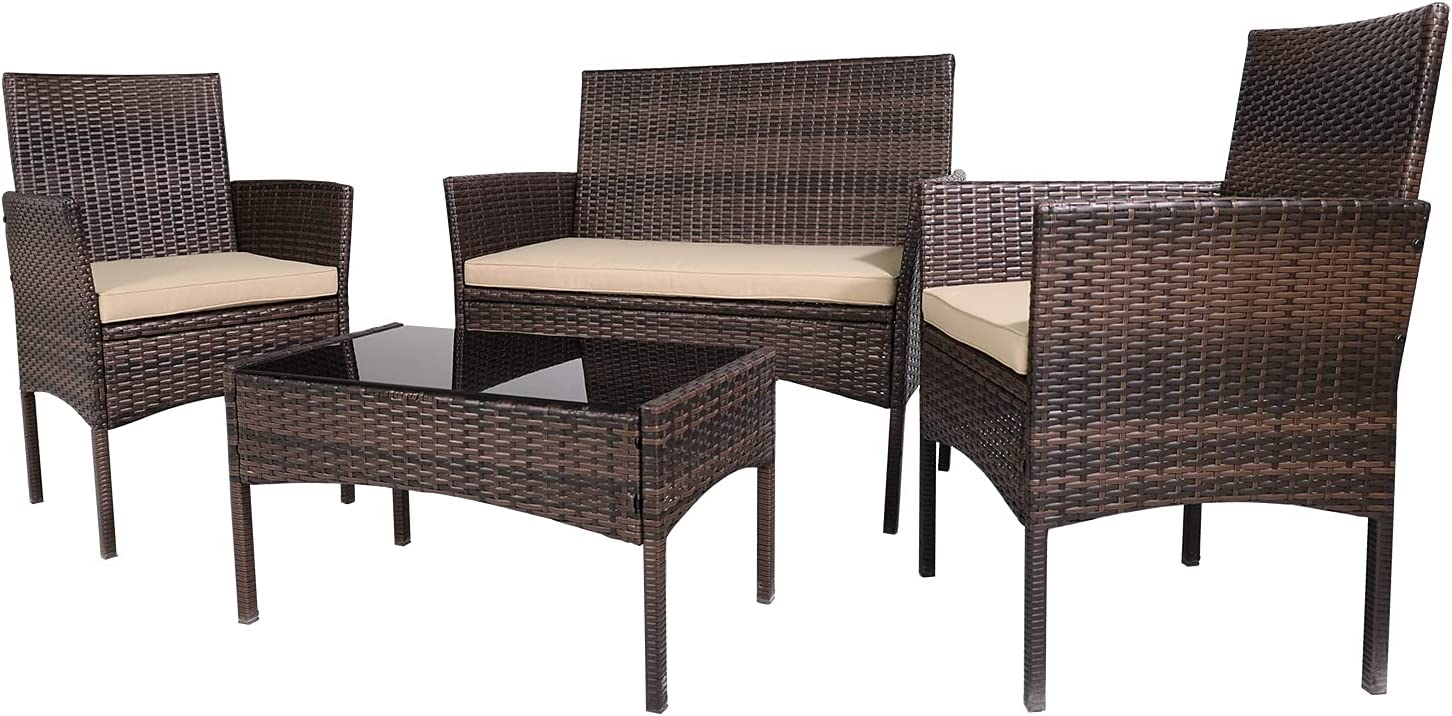 Patio Furniture Sets 4 Pieces Outdoor Patio Set Rattan Chair Wicker Sofa Conversation Set Patio Chair Wicker Set with Table Backyard Lawn Porch Garden Poolside Balcony Furniture (Brown and Beige)