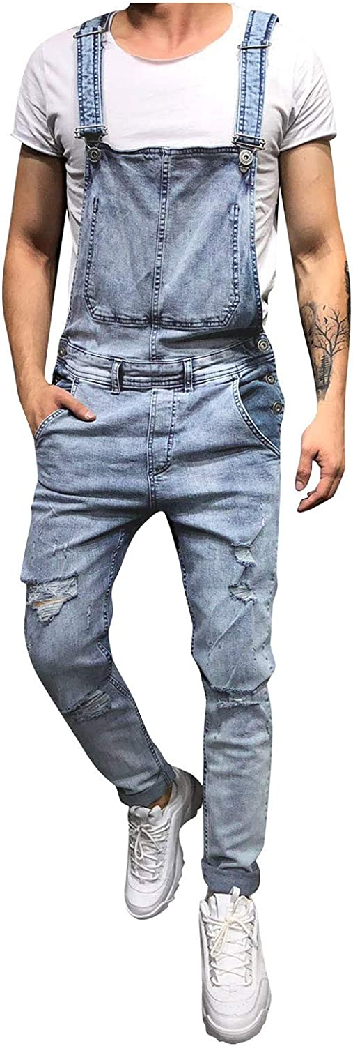 PHSHY Men's Ripped Denim Bib Overalls Casual Slim Fit Cargo Workwear Jumpsuit Rompers with Pockets Big and Tall S-XXL