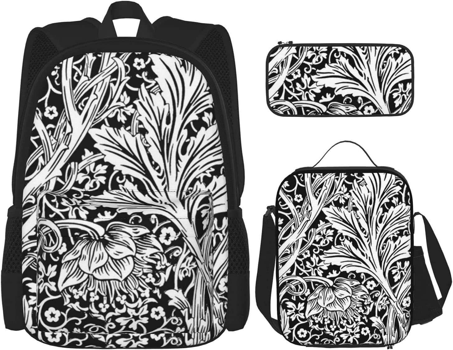 Max 89% OFF Backpack Bags Black White 25% OFF Bag with 3 Lunch Pencil Pouch Case