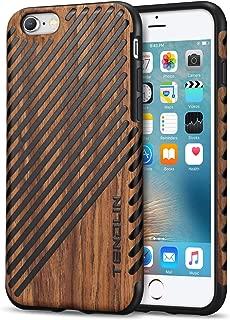 TENDLIN iPhone 6s Case Wood Veneer Soft TPU Silicone Hybrid Slim Case for iPhone 6 6s (Wood & Leather)