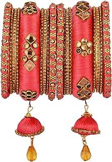 Efulgenz Indian Bangle Set CZ Crystal Kundan Silk Thread Tassels Bracelets Bangle Jewelry for Women Girls (Set of 18), 2-8