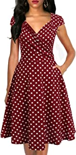 Women's Elegant Ruched V-Neck Flared A-Line Cap Sleeves Swing Casual Party Cocktail Dresses with Pockets