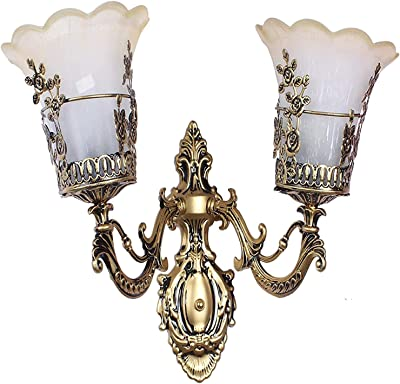 B8L BRIGHTT 8 LIGHT Glass and Steel Portuguese Style Double Lamp Wall Light for Home Décor