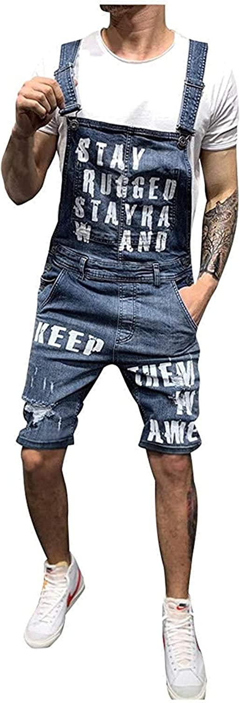 JNBGYAPS Men's Denim Bib Shorts Overalls Casual Adjustable Onesie Jumpsuit Slim Fit Jeans Rompers One Piece Denim Shorts