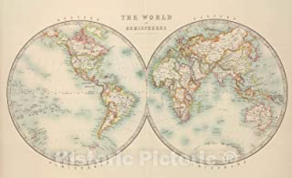 Historic Map - 1912 World in Hemispheres. - Vintage Wall Art - 72in x 44in