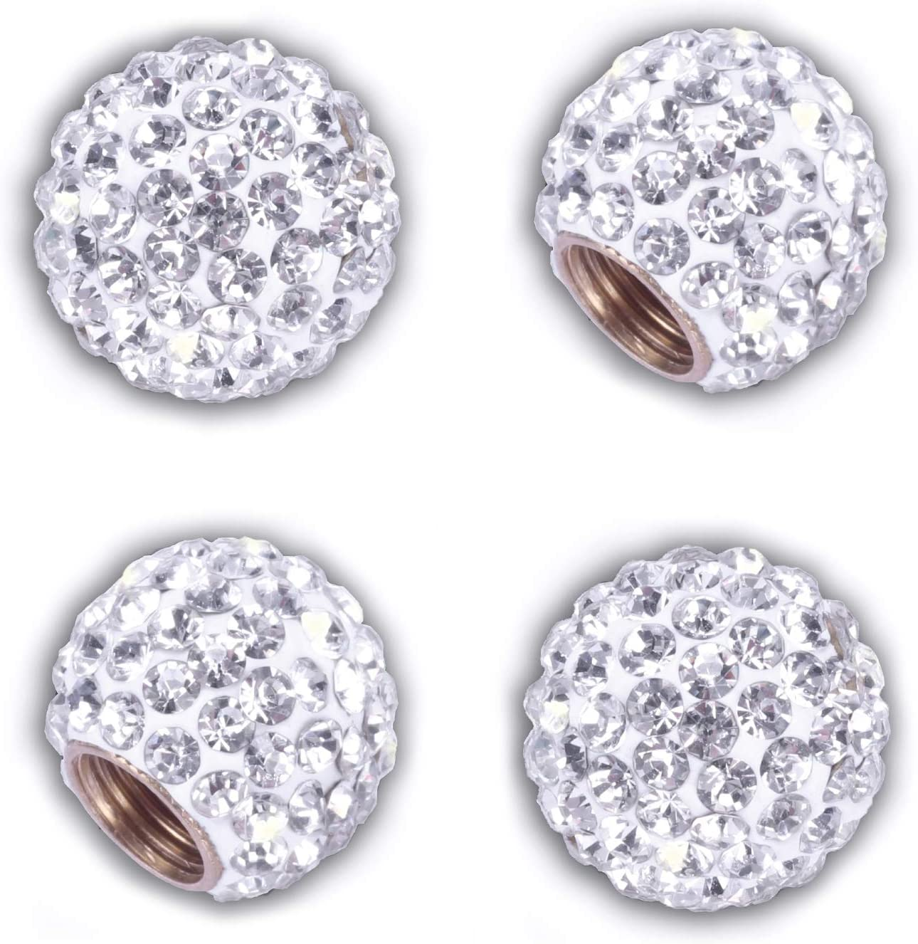 JUSTTOP Car Tire Valve Stem Caps, 4 Pack Handmade Crystal Rhinestone Car Stem Air Caps Cover, Attractive Dustproof Bling Accessories, Universal for Cars, SUVs, Bicycle, Trucks and Motorcycles-White
