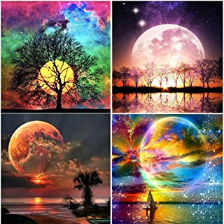 DIY 5D Diamond Painting by Number Kits, Crystal Rhinestone Diamond Embroidery Paintings Pictures Arts Craft for Home Wall Decor (Moon, 4x12x12inch)