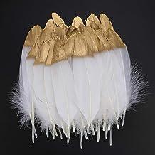 Mwoot 40pcs Plumas blancas naturales con punta empapada en oro, artesanía natural Plumas de ganso, para decoración de aretes, atrapasueños bricolaje, Boda, Disfraces Hats