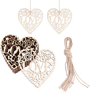 Professional 10pcs Love Heart Wooden Embellishments Crafts Hanging Ornaments Pendant, Wooden Heart Shapes - Craft Embellishments Buttons, Wooden Heart Tags, Craft Wooden Snowflakes