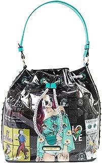 Bucket Handbag With Drawstring Closure Top Handle And Stylish Print Design