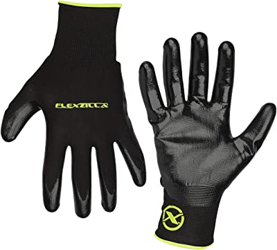 Flexzilla GC100XL Nitrile Dip, Black, XL General Purpose Glove