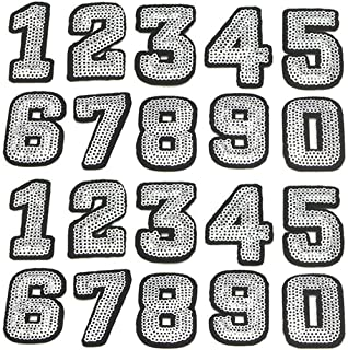 Number Sequins Patches Iron On/Sew On Embroidered Applique Patches for Clothes Dress Hat Pants Shoes Curtain Sewing Decorating DIY Craft Repair Patches (2 Set Numbers)