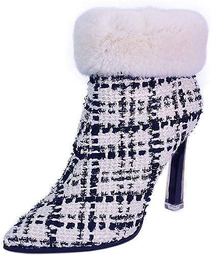 GTVERNH Moda schuhe de damen schuhe De Tacon Alto Moda Señaló Corto Stiefel Stiefel De Moda 10Cm Finos schuhe De Tacon schuhe De damen.