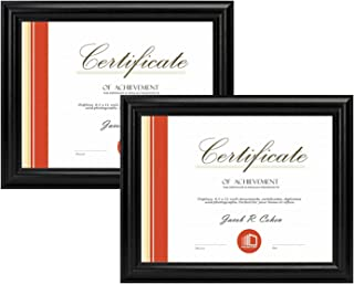 Set of Two, 8.5x11 Black Document Frame - Curved Bevel Design – Fits 8.5x11 Certificate or Photos - Real Glass (2 Frames, Black)
