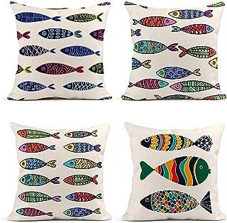 Outdoor Pillows Blow Fish Green Lumbar Patio Pillow Decorative Outdoor Pillow Cushion Fish Throw Pillow for Patio Tropical Decor