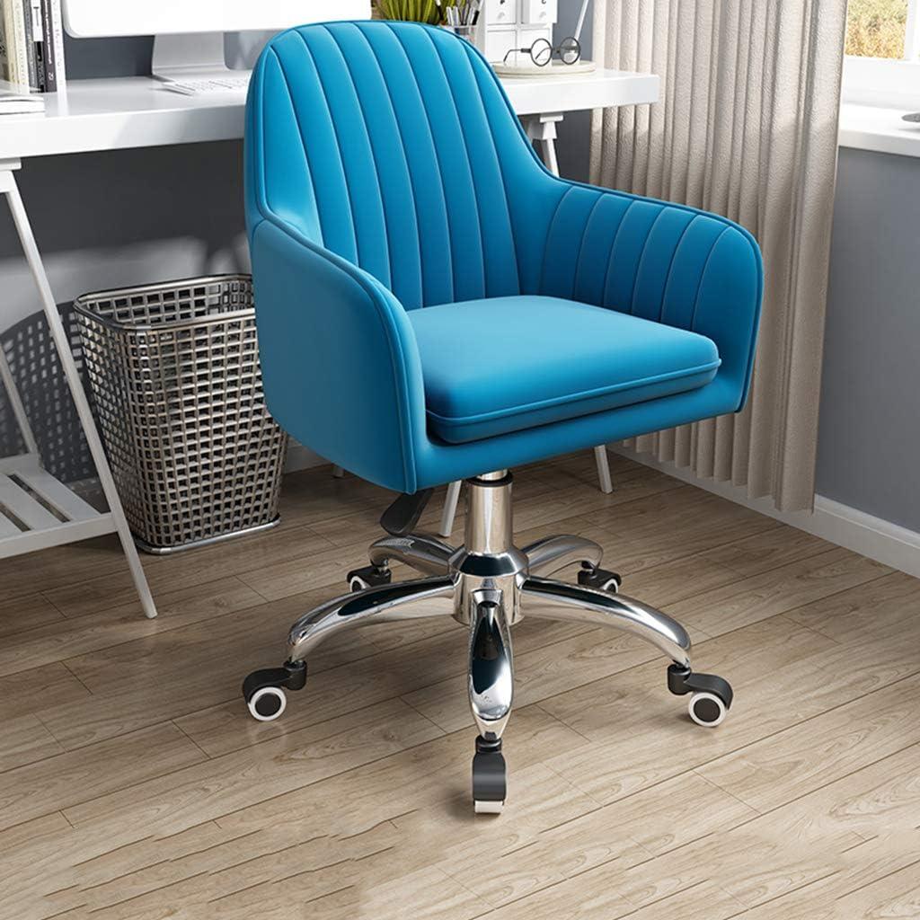 Chaise de Bureau Chaise de Bureau Ergonomique en Cuir PU, Chaise d'ordinateur pivotante à Dossier Moyen réglable avec Support Lombaire d'accoudoir, Pivot à 360 degrés Blue