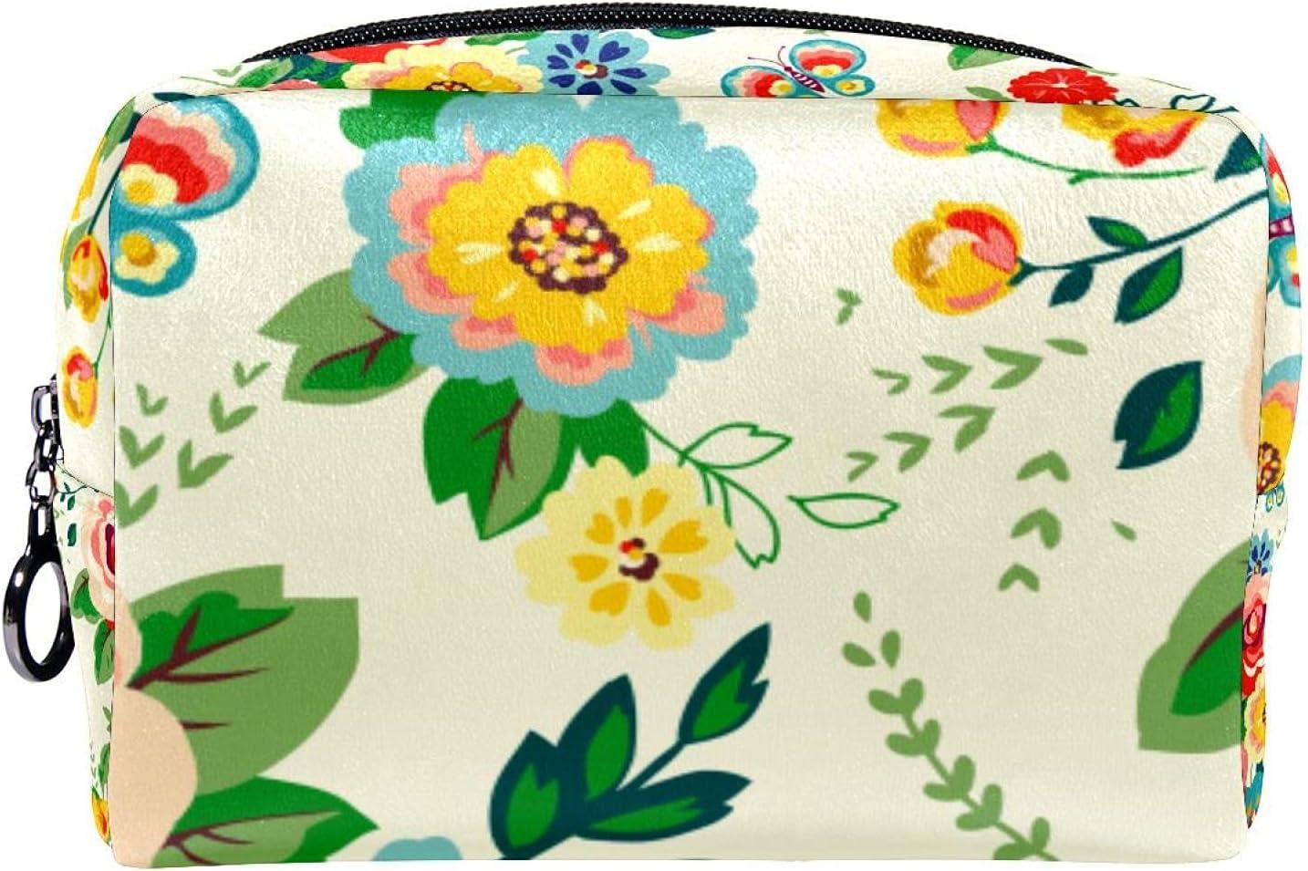 Cosmetic Bag Zipper Closure hawaiian Max 62% OFF Department store Makeup tropical floral