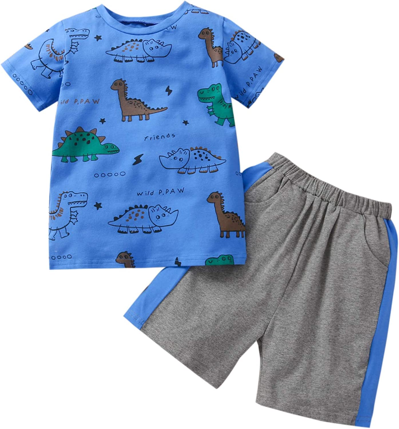 Kids Toddler Baby Boy Spring Summer Clothes Short Sleeve Dinosaur T-Shirt Top and Shorts Pants 2PCS Causal Outfits Set (Blue Patched Side, 3-4 Years)