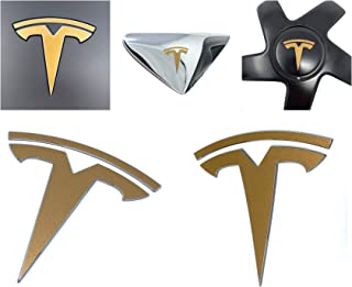 Custom Cut Graphics Tesla Model 3 Logo Decal Wrap (Gloss Gold)