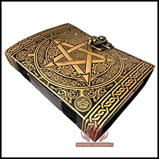 Pentagram Embossed Handmade Witchcraft Book of Shadows Leather Journal Book Wicca Pagan Pentacle Notebook Office Diary College Book Poetry Book Sketch Book 5 x 7 Inches for Men and Women