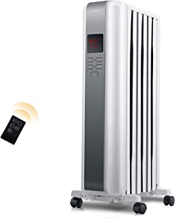 Space Heater, 1500W Oil Filled Radiator Heaters Indoor Portable Electric with Remote, Built-in 24-Hrs Auto On/Off Timer, D...