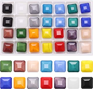 Bracelet multi colored foil square glass beads hematite spacers
