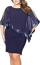 Vestido Mujer Sin Manga Color sólido Cuello Redondo Talla Grande Vestidos con Gasa Mantón Coctel Vestido Mini Vestidos de Fiesta Corta para Mujer