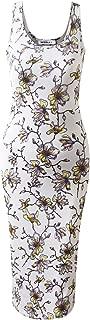 CLOVERY Women's Summer Floral & Solid Print Dress Tank Long Maxi Dresses ArmyGreen