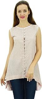 Phagun Womens Sleeveless Printed Top Casual Summer Asymmetrical Cotton Tunic