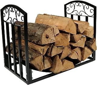 Sunnydaze Indoor/Outdoor Firewood Log Rack, Decorative Fireplace Wood Storage Holder, 2-Foot, Black